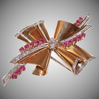 RETRO MODERN 14K Gold Fur Clip - Rose Gold, 4.37CT TW, Diamonds, Rubies, Brooch