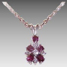 Vintage 14K GOLD Pendant - Snowflake, 1.23CT TW, Diamonds, Rubies, April, July Birthday