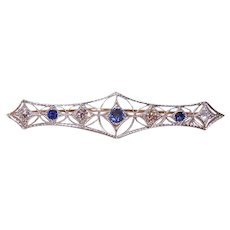 ANTIQUE EDWARDIAN Platinum Pin - Old Cut, 2.08CT TW, Diamond, Blue Sapphire, Brooch, Bar Pin
