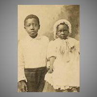 VINTAGE Photograph - Black, Negro, Children, Big Brother, Little Sister