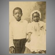 VINTAGE Photograph - Black, Negro, Children, Big Brother, Little Sister