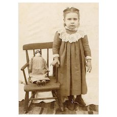 VICTORIAN Cabinet Card - Little Girl, Rocking Chair, Porcelain Doll