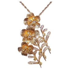 Vintage 18K GOLD Pin - Yellow Gold, 1 CT TW, Diamonds, Floral, Trio of Flowers, Brooch