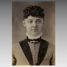 VICTORIAN Cabinet Card - Young Lady, Lace Collar, Cameo Pin