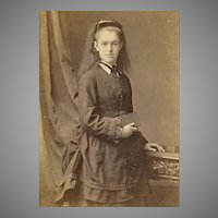 VICTORIAN Cabinet Photo - Young Lady Holding Book, European