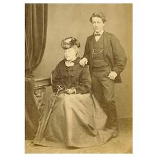VICTORIAN Cabinet Card - Young English Couple, Newlyweds, First Love