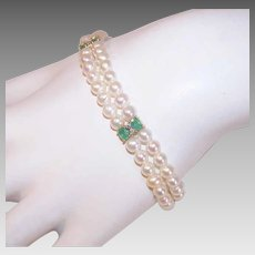 Vintage 14K GOLD Bracelet - Cultured Pearls, Emeralds, Diamonds, Double Strand