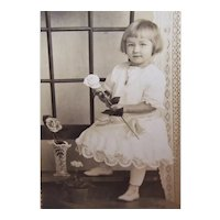 Vintage B&W Postcard - Sweet Little Girl with Rose