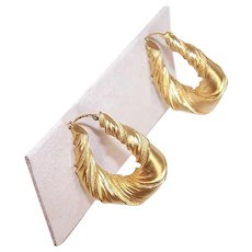 ESTATE 18K Gold Earrings - French, Hoops, Ribbed, Pierced, 7.4 Grams