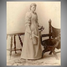 VICTORIAN Cabinet Photo - Young Lady, Graduate, Diploma, Bouquet of Roses