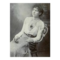 VICTORIAN Cabinet Card - Young Lady, Seated, Holding Photo, Wicker Chair