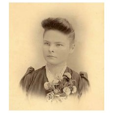 VICTORIAN Cabinet Card - Young Lady, Pearl Necklace, Flower Corsage