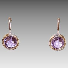 Vintage 14K GOLD Earrings - 20CT TW, Amethyst, Drops, Pierced, French Latch, Round