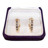 14K Gold .55CT TW Diamond Sapphire J Hoop Earrings - Pierced Earrings - Posts with Omega Backs