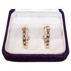 Vintage 14K Gold Diamond Sapphire Earrings