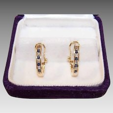 Vintage 14K GOLD Earrings - .55CT TW, Diamond, Sapphire, Hoops, Pierced, Omega Back