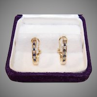 Vintage 14K Gold Diamond Sapphire Earrings