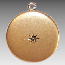EDWARDIAN Gold Filled Locket - Round, Rhinestone, Engraved LM, High Carat Bloom