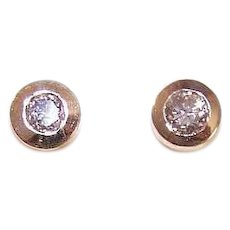 Vintage 14K GOLD Earrings - Diamonds, Studs, Pierced, Posts with Nuts