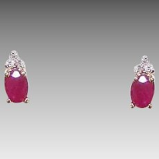 Vintage 14K GOLD Earrings - .75CT TW Ruby, Diamond, Pierced, Studs, Post with Nuts