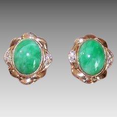 Vintage 14K GOLD Earrings - Green Jade, Diamond, Pierced, Studs, Posts with Nuts