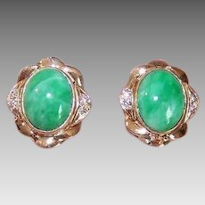 Vintage 14K GOLD Earrings - Green Jade, Diamond, Pierced, Studs, Posts with Nuts