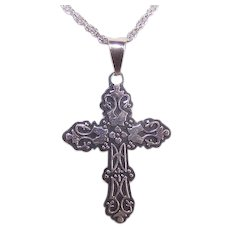 Vintage STERLING SILVER Pendant - Cross, Religious, Mexican, Mexico, Patterned Top