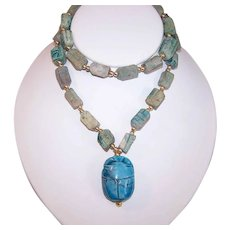 Vintage HANDMADE BEAD Necklace - Egyptian Revival, Faience, Scarab, Turquoise, Clay