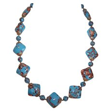 ART DECO Bead Necklace - Glass, Blue, Goldstone, Brass Findings