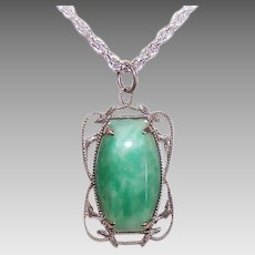 ART DECO Costume Pendant - Silver Metal, Rhodium, Peking Glass, Cab Center