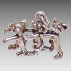 Vintage STERLING SILVER Charm - Three Blind Mice, 3 Blind Mice, 3D, Figural