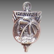Vintage STERLING SILVER Charm - Hawaii, Souvenir, State