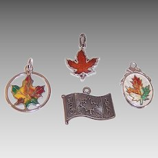 Vintage STERLING SILVER Charms - Enamel, Canada, Maple Leaf, Expo 67, Group of 4