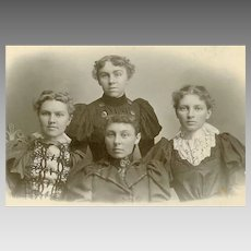 VICTORIAN Cabinet Card - Mother and Her 3 Daughters