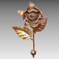 Vintage ITALIAN TOLE Coat Hook - Gilt, Gold, Cast Iron, Single Rose