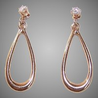 Vintage 14K GOLD Earrings - .20CT TW, Diamond, Studs, Ear Jackets, Teardrop, Drops
