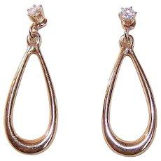 Vintage 14K GOLD Earrings - .20CT TW, Diamond, Studs, Ear Jackets, Teardrop, Drops