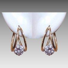 Vintage 14K GOLD Earrings - Hoops, Cubic Zirconia, CZ, Pierced, Posts, Latchbacks