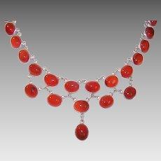 Vintage STERLING SILVER Necklace - Carnelian,  Festoon, Cab Stones