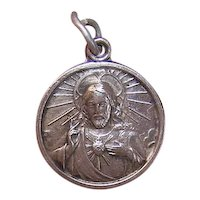 Vintage Religious Silverplate Charm - Sacred Heart of Jesus - Our Lady of Mt Carmel
