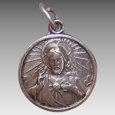 Vintage SILVERPLATE Charm - Religious, Sacred Heart, Jesus, Our Lady of Mt Carmel
