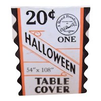 """Genuine Art Deco Halloween Table Cover Paper Tag Price Tag 54"""" x 108"""""""
