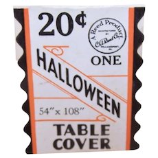"Genuine Art Deco Halloween Table Cover Paper Tag Price Tag 54"" x 108"""
