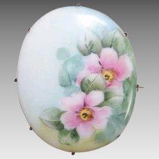 Vintage PORCELAIN Pin - Handpainted, Floral, Pink, White, Large Oval, Brooch