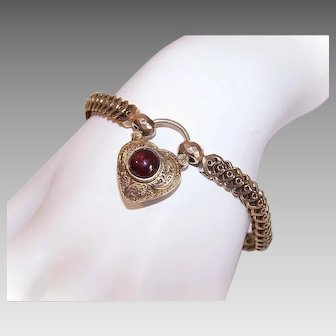ANTIQUE VICTORIAN 18K Gold Bracelet - Engraved, Heart Lock, Garnet, Locket Back, Unused, Chain