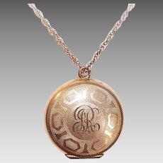 Vintage GOLD FILLED Pendant - Childs Rosary Holder, Round, Engraved JR