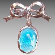 Vintage STERLING SILVER Pin - First Communion, Souvenir, Blue Enamel, Sacred Heart, Jesus
