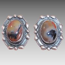 Vintage STERLING SILVER Earrings - Agate, Native American, Pierced, Studs, Posts with Nuts