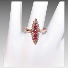 ANTIQUE VICTORIAN 14K Gold Ring - Natural Ruby, Natural Pearl, Navette