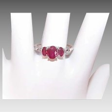 Vintage STERLING SILVER Ring - 1.25CT TW, Natural Ruby, Clear Topaz